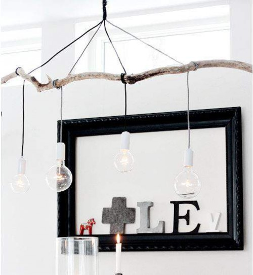 63 affordable diy lighting projects - Tree branch ceiling light ...
