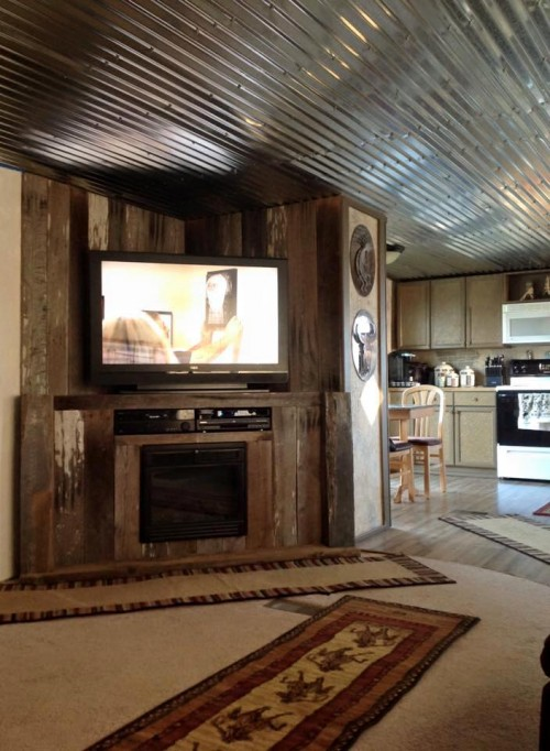 TV and entertainment center after mobile home renovation