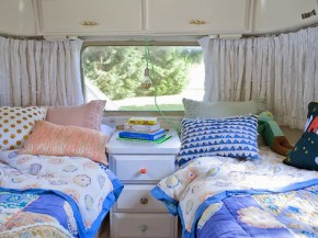 twin bedding in Adorable Airstream