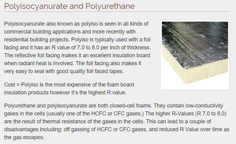 types of foam insulation - Polisocyanurate and Polyurethane foam