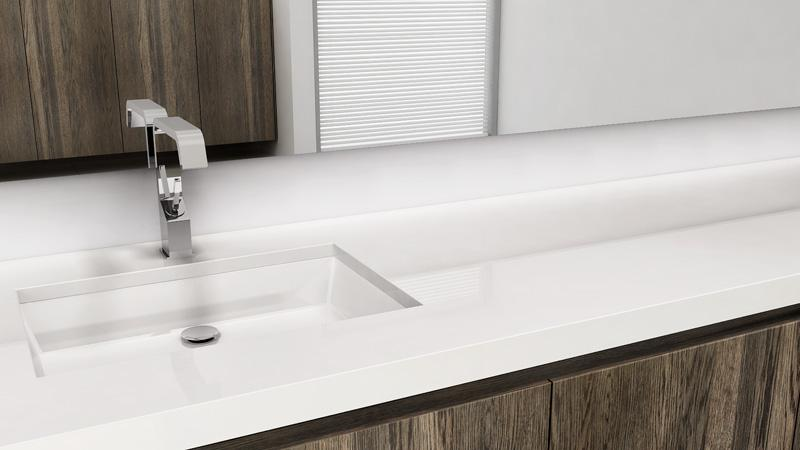 An InDepth Mobile Home Bathroom Guide Mobile Home Living - Long bathroom sink with two faucets