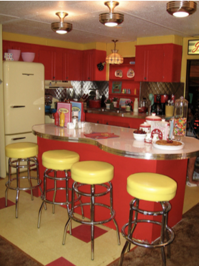 unique mobile home decor - retro style kitchen