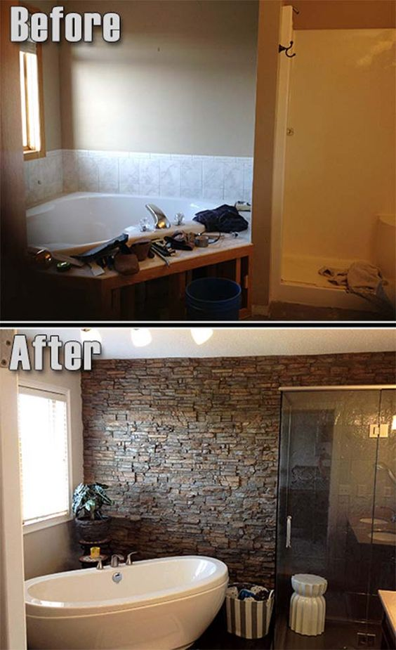 update your mobile home bathroom-adding stone look tile to tub