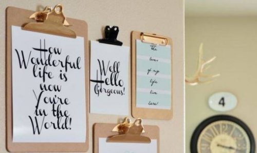 Use clip boards for cheap wall art
