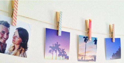 use clotheslines and clothes pins to hang diy wall art