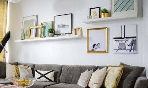 Use narrow ledge shelves to prop diy wall art up on a wall