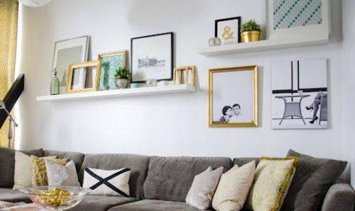 use narrow ledge shelves to prop diy wall art up on a wall