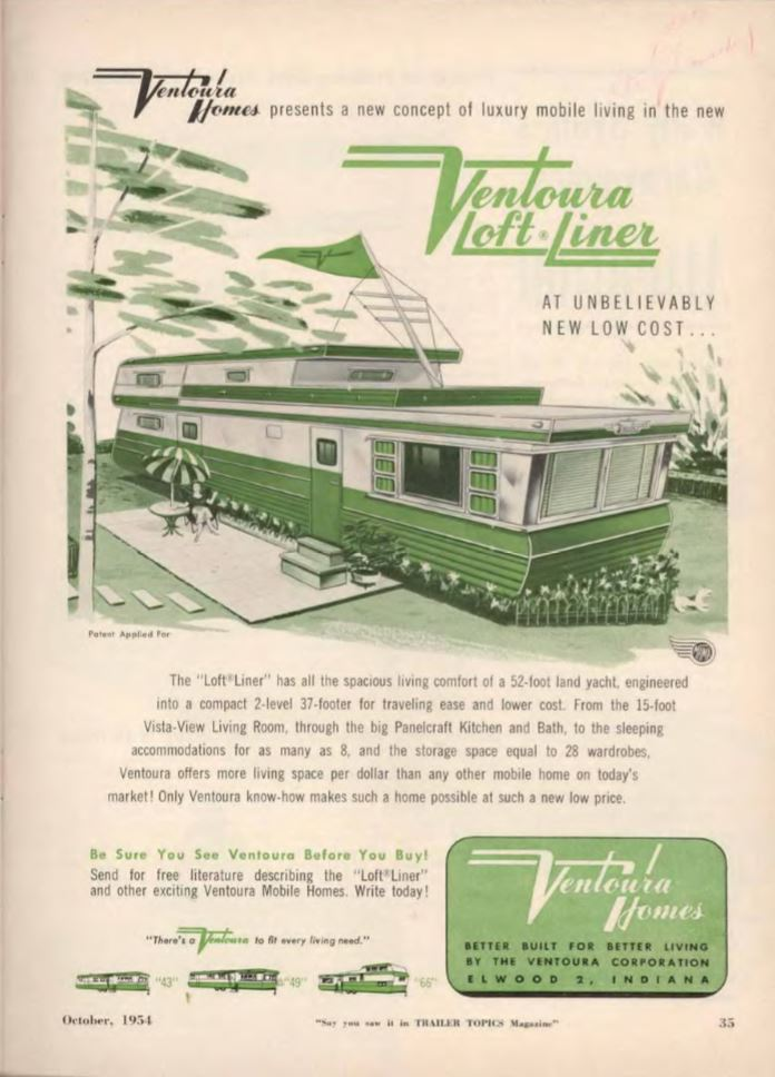 vintage mobile homes-ventoura loft-liner mobile home