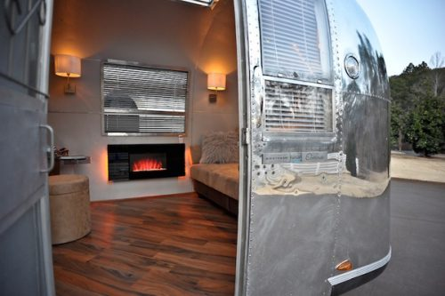 vintage airstream remodel-fireplace