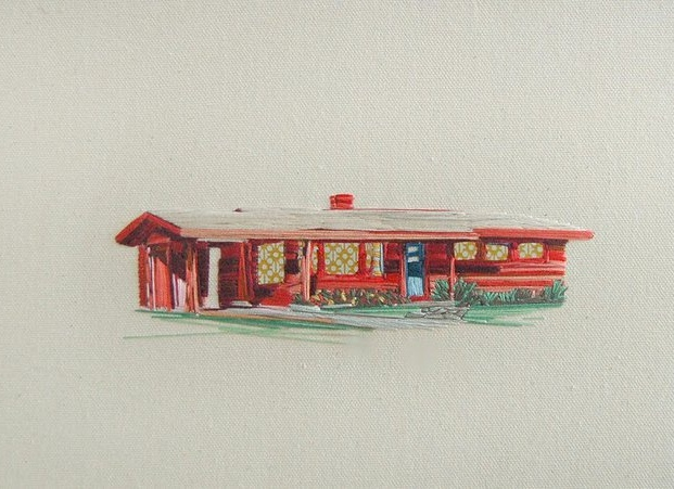 vintage mobile home art made of thread (2)