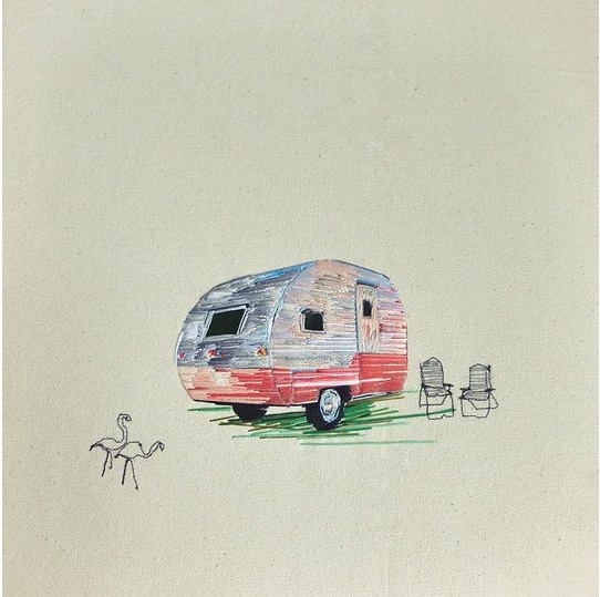 vintage camper art made of thread (3)