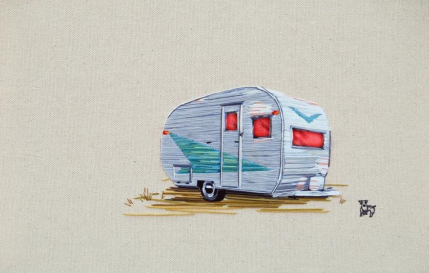 vintage camper art made of thread (4)