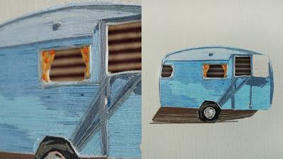 vintage camper embroidered art closeup