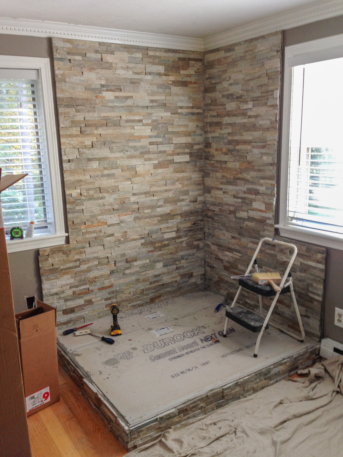 wall complete w stone tile - How To Install A Wood Stove In Your Manufactured Home