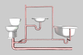 wet vent example - toilet- sink-tub