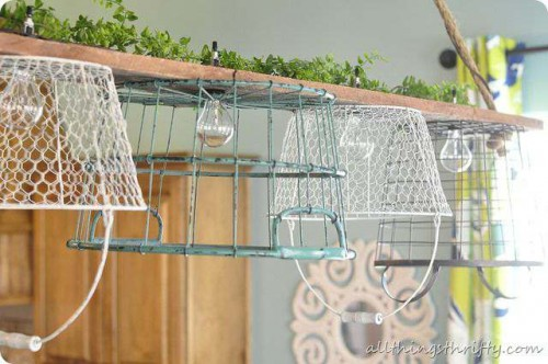 wire basket light DIY project