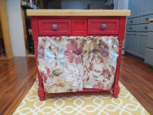 yard sale find - kitchen island after