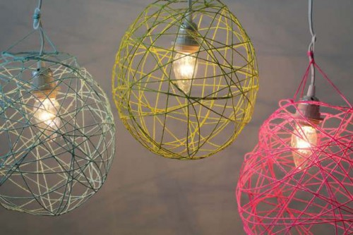 yarn light project - DIY project